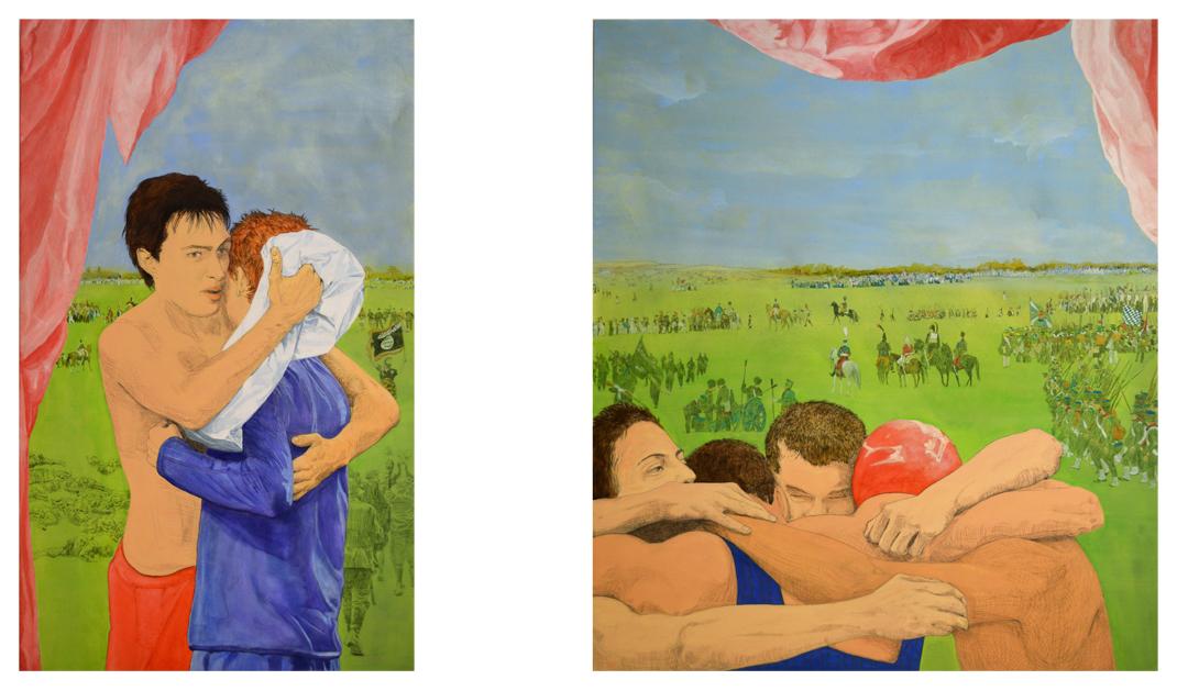Brot und Spiele | Acrylfarbe und Buntstift auf Leinwand | 150 × 90 cm und 150 × 130 cm | 2014